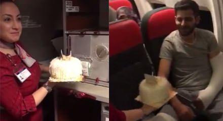 Çok güzel hareketler. İdlib gazisine uçakta doğum günü sürprizi